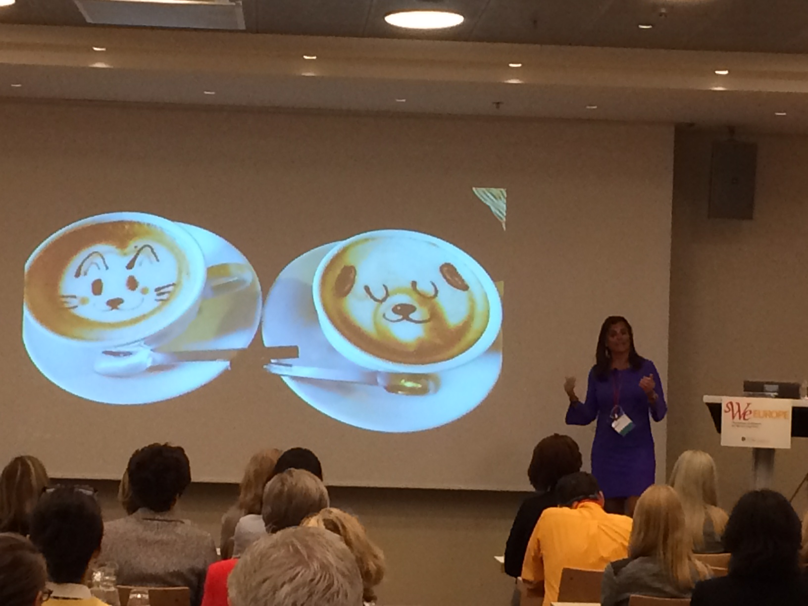 WizeNoze founder Diane Janknegt delivers her keynote speech at the Society of Women Engineers WE Europe Conference.